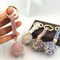 Women Leather Strap Crystal Rhinestone Ball Car Keychain Charm Pendant Key Ring