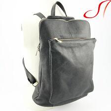 Ital. echt Leder Rucksack schwarz Backpack Lederrucksack Umhängetasche NEU
