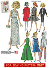 """SEWING PATTERN! MAKE 11.5"""" DOLL CLOTHES! FIT BARBIE! SEVEN OUTFITS~VINTAGE STYLE"""