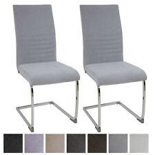 Esszimmerstühle LUGANO 2er-Set Hellgrau, Stoff Freischwinger Schwing-Stuhl