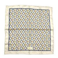 Gucci Vintage Silk Small Square Scarf Horsebit Printed Multicolor Authentic