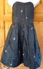 Peacock Blue/Black Strapless Cocktail/Evening Dress Spotlight by Warehouse Sz 12