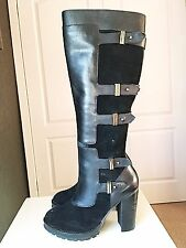 Dune Leather Designer Ladies Women Knee High Heel Leather Shoe Boot Size 5 38