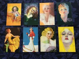 8 Vintage Mutoscope Pin-Up Cards - Billy DeVorss - All American Girls Series