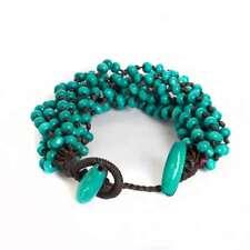 Handmade Wood Bead Thick Seed Bracelet Costume Jewelry - Turquoise Light Blue