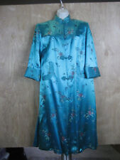 // Vintage Chinese Robe Teal w Embroidered Flowers Panjhan Pure Silk Sz. 36