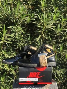 "Nike: Air Jordan 1 Retro High OG ""Black Metallic Gold"" 2020 555088-032 *SIZE 12"