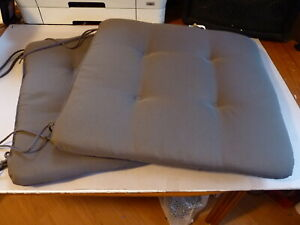 """2 USED GREY TIE ON SEAT CUSHIONS,  SIZE, 18"""" x 18"""" (460mm x 460mm)  BY DOPPLER"""