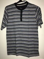 Mens Peacocks Blue Striped Short Sleeved Pyjama Top. Size Medium