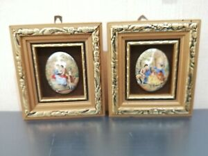 Pair of South African miniature enamel on copper reproductions