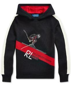 $145 Polo Ralph Lauren Big Boys Black Skier Merino Hooded Sweater Large tja05