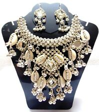 NEW KUCHI TRIBAL SILVERTON COWRIES NECKLACE BELLY DANCE VINTAGE JEWELRY INDIA