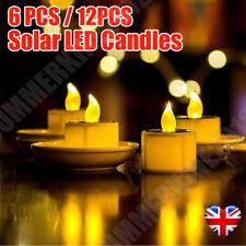 12PCS Solar Powered LED Candles Flameless Electronic Waterproof Tea Lights Lamp