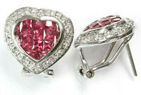 """2.25 ctw Natural Ruby & Diamond Solid 14k White Gold Halo Heart Earrings, 0.55"""""""