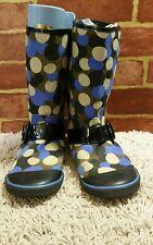ALDO WOMENS CANVAS RUBBER SOLE BOOTS BLUE/BROWN/TAN SIZE 38/7.5  2178