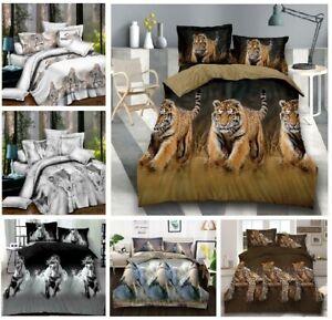 3D Animal Print Duvet Cover Set Quilt Cover Sheet Pillowcase Single Double King