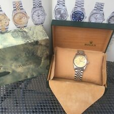 Vintage 1968 Rolex Datejust 18ct White Gold Bezel ,Gold Dial & Inner& Outer box.