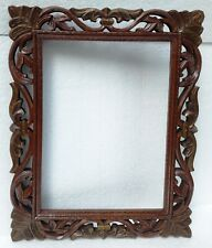 Wood Mirror Frame Vintage Old Picture Frame Hand Carved Collectible Indian art