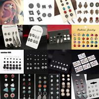 12 Paar Mode Strass Ohrringe Ohrstecker Set Perle Kristall Damen Ohrschmuck