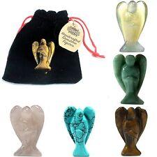 Hand Carved Rose Quartz Gemstone Guardian Angel  5cm Figure In A Velvet Gift Bag