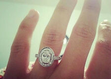 2.60 Ct. Natural Oval Cut Halo Pave Diamond Engagement Ring - Gia Certified