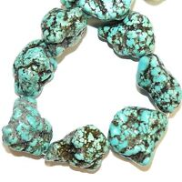 NG3019 Light Blue-Green Turquoise 27mm - 34mm Large Magnesite Nugget Beads 15""