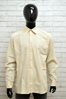 Camicia HUGO BOSS Uomo Taglia Size XL Maglia Shirt Man Manica Lunga Cotone Beige
