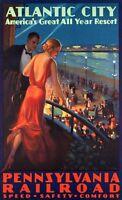 "Vintage Illustrated Travel Poster CANVAS PRINT Atlantic city 24""X16"""
