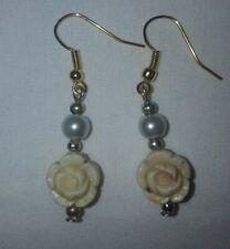 Rose gold earrings faux pearl faux stone dangle earings. Vintage & new ear hooks