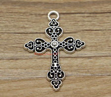 10 Large Cross Pendants Charms Religious Charms Antique Silver Tone 35x50 2496