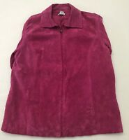 Chicos Womens Classic Jacket Pink Leather Suede Zip Lined Size 2 (12/14)