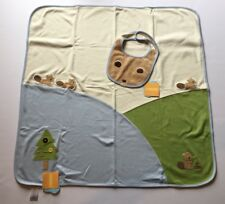 Nwt Gymboree Forest Friends Blue Beaver Baby Blanket & Bib
