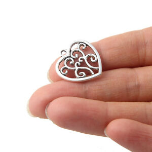 10x Tibetan Silver Hollow Love Heart Shaped Charm Pendant 20*20MM DIY Jewelry