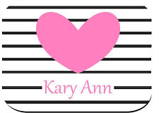 PERSONALIZED MOUSE PAD BLACK AND WHITE STRIPES PINK HEART