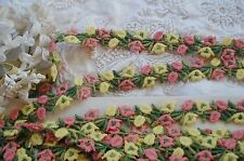 VINTAGE SCHIFFLI PINK YELLOW FLOWER APPLIQUE LACE RIBBON TRIM FRENCH DOLL BEAR