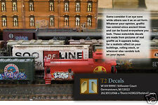 N Scale Custom  Graffiti Decals MEGA SHEET #4- For Weathering your Box Cars!