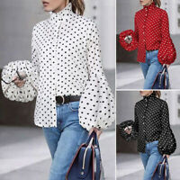 ZANZEA 8-20 Women Button Down Shirt Tee Top Puff Sleeve Vintage Polka Dot Blouse