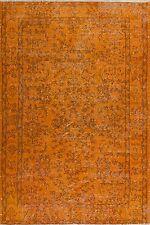 4x7 Ft (117x212 cm)  Orange Color OVERDYED Handmade Vintage Turkish Rug  k549