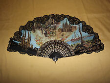 "VINTAGE RECORD DE BARCELONA MARKET SQUARE  LARGE 14"" HIGH  HAND FAN"