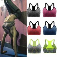 Womens Padded Yoga Sports Bra Tank Top Gym Fitness Stretch Racerback Running Bra