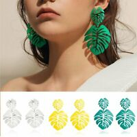 New Banana Leaf Flower Stud Pearl Earrings Women Fashion Jewelry Statment Gift