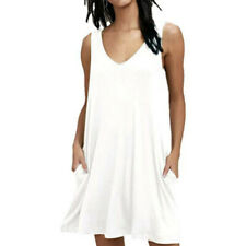 Women's Pocket Loose Summer V Neck Mini Tank Dress Sleeveless Short Sundress