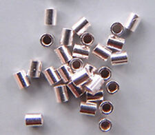 Crimps 2mm Tubular Beads Sterling Silver 43046 (50) Soft Flex Brand Softflex