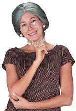 Womens Granny Wig Mrs.Claus Hair Gray Bun Librarian Old Lady Grandma Adult Grey