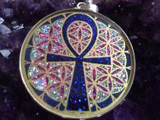 "Ankh Key Flower Of Life Necklace Lapis Gemstone 1.5/8"" Pendant Sterling Silver"
