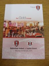01/02/2014 Rotherham United v Leyton Orient - Glossy Four Page Menu, The Gold Lo