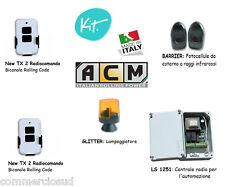 kit Centrale +2 Telecomandi + Fotocellule + Lampeggiante automazione di serrande