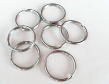 Wholesale 100pcs DIY 25mm Silver Metal Round Keyring Keychains Key Rings