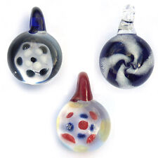 Lampwork Pendant Lot of 3 Spiral Flower Dots Blue White Red Multicolor