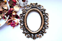 Gothic Photo Frames Black Oval frame Covered With Gold Patina Vintage Frame